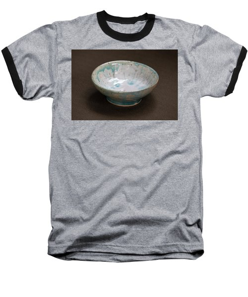White Ceramic Bowl With Turquoise Blue Glaze Drips Baseball T-Shirt by Suzanne Gaff