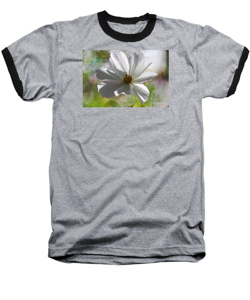 Baseball T-Shirt featuring the photograph White Cosmos by Yumi Johnson