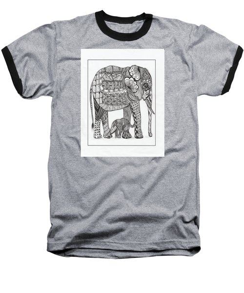 Baseball T-Shirt featuring the drawing White Elephant And Baby by Kathy Sheeran