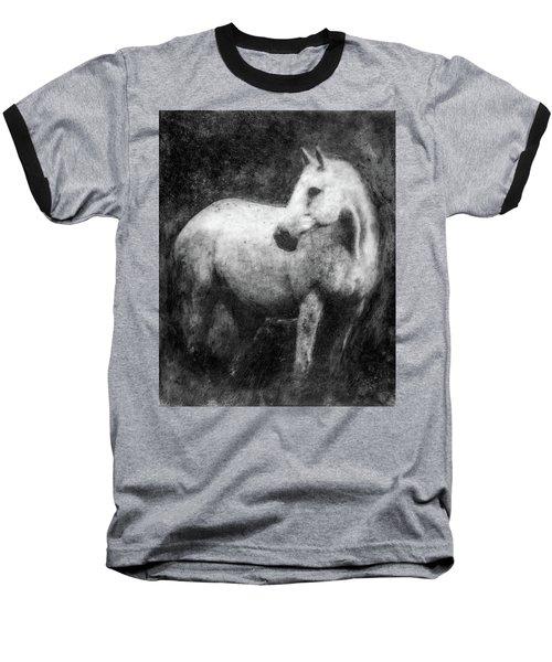 White Horse Portrait Baseball T-Shirt