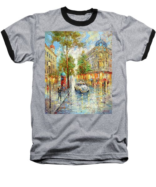 Baseball T-Shirt featuring the painting White Taxi by Dmitry Spiros