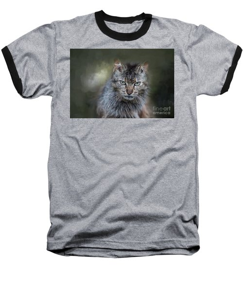 Wild Cat Portrait Baseball T-Shirt