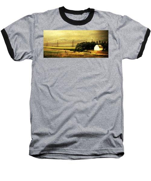 Wind Turbines Baseball T-Shirt by Julie Hamilton