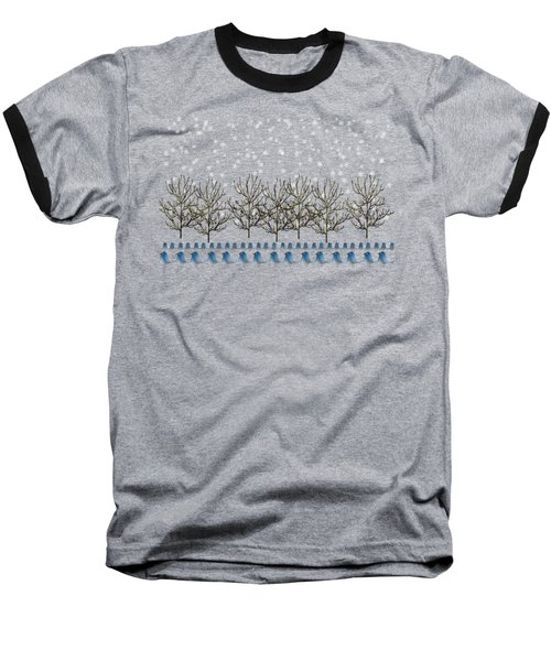 Winter Bluebirds In The Snow Baseball T-Shirt by Anne Kitzman