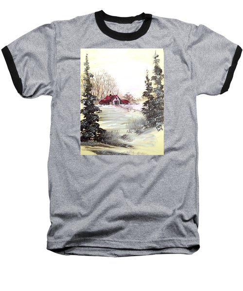 Winter Landscape Baseball T-Shirt by Dorothy Maier