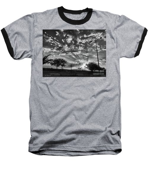Winter Sunset Baseball T-Shirt by Arik Baltinester
