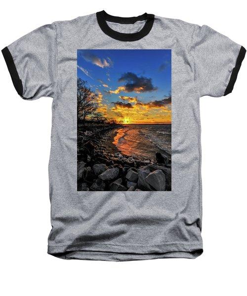 Winter Sunset On A Chesapeake Bay Beach Baseball T-Shirt