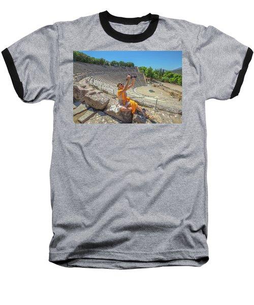 Woman Photographer Selfie Baseball T-Shirt