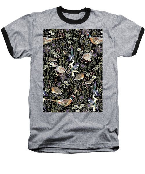 Woodland Edge Birds Baseball T-Shirt by Jacqueline Colley
