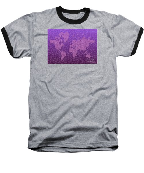 World Map Kotak In Purple Baseball T-Shirt