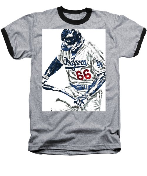 Yasiel Puig Los Angeles Dodgers Pixel Art Baseball T-Shirt