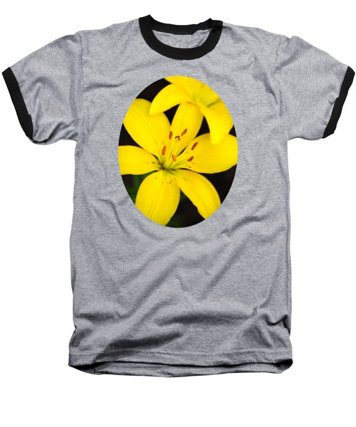 Yellow Lily Flower Baseball T-Shirt by Christina Rollo