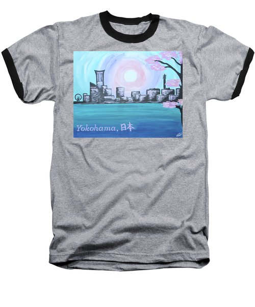 Yokohama Skyline Baseball T-Shirt by Cyrionna The Cyerial Artist