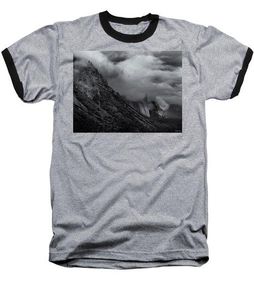 Yosemite Valley Panorama In Black And White Baseball T-Shirt
