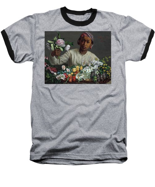 Young Woman With Peonies Baseball T-Shirt