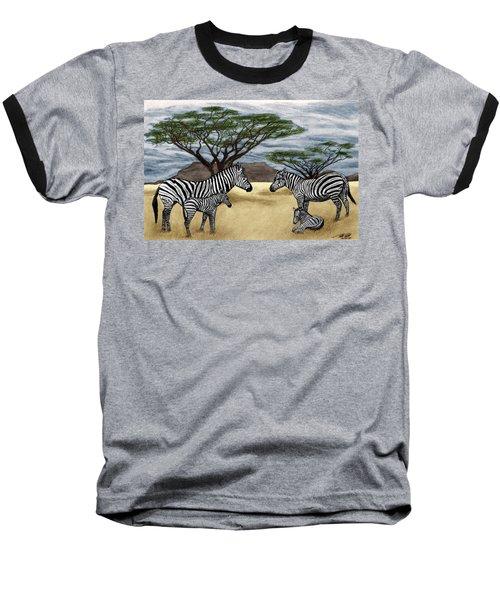 Zebra African Outback  Baseball T-Shirt by Peter Piatt