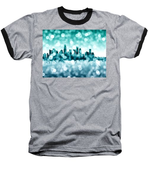 Los Angeles California Skyline Baseball T-Shirt by Michael Tompsett