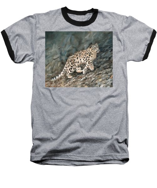 Baseball T-Shirt featuring the painting Snow Leopard by David Stribbling