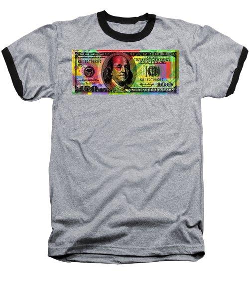 Benjamin Franklin - Full Size $100 Bank Note Baseball T-Shirt