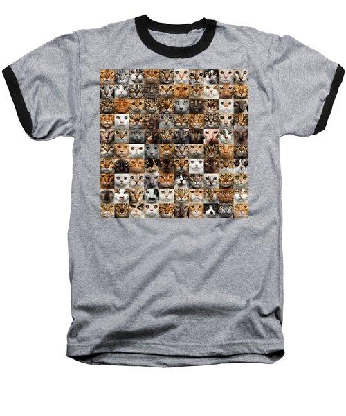 100 Cat Faces Baseball T-Shirt