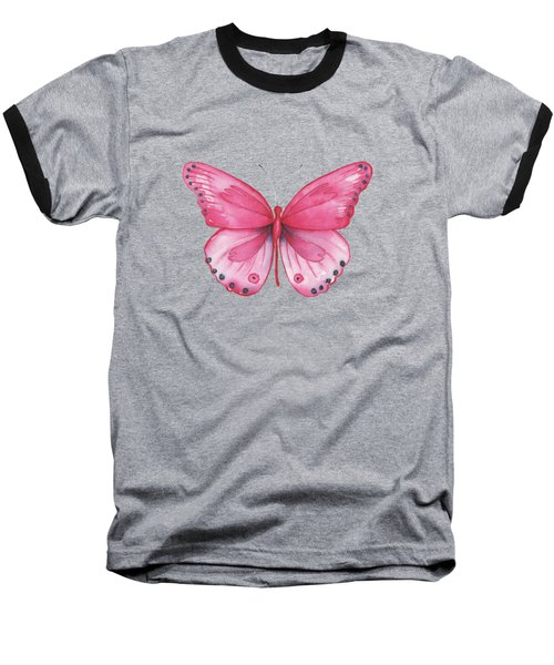 107 Pink Genus Butterfly Baseball T-Shirt
