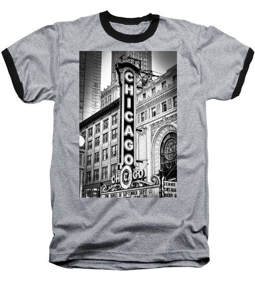 1077 Chicago Theater Black And White Baseball T-Shirt