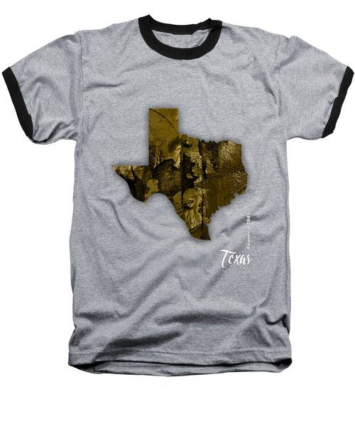 Texas State Map Collection Baseball T-Shirt by Marvin Blaine