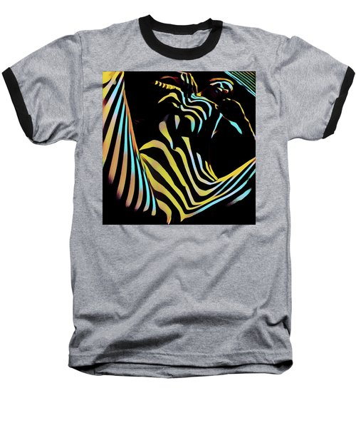 1149s-ak Dramatic Zebra Striped Woman Rendered In Composition Style Baseball T-Shirt