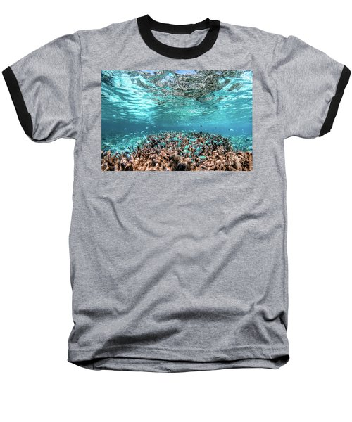 Underwater Coral Reef And Fish In Indian Ocean, Maldives. Baseball T-Shirt