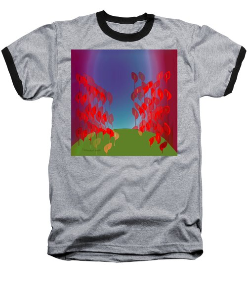 1218 - Red Flowers Baseball T-Shirt by Irmgard Schoendorf Welch