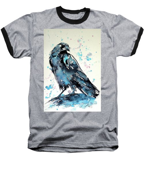 Baseball T-Shirt featuring the painting Crow by Kovacs Anna Brigitta