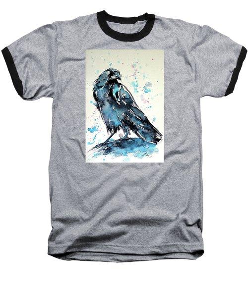 Crow Baseball T-Shirt by Kovacs Anna Brigitta