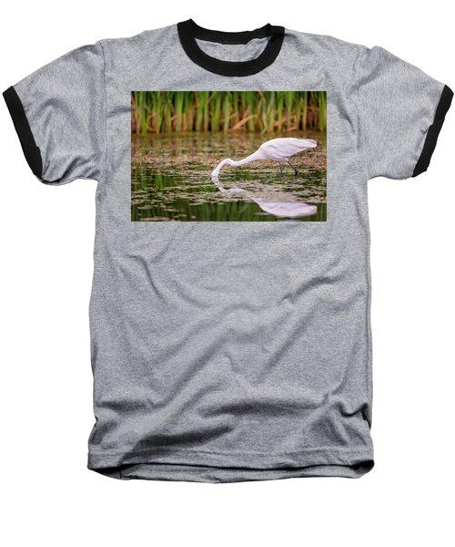 White, Great Egret Baseball T-Shirt