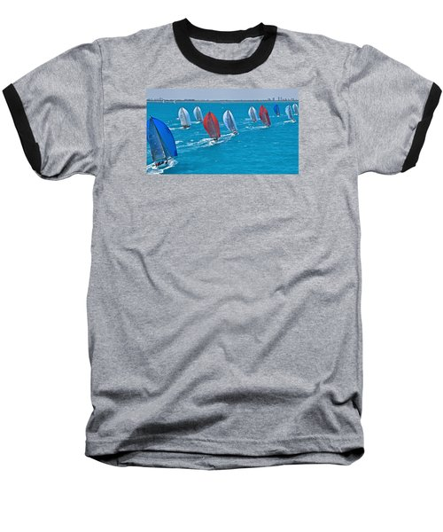 Miami Skyline Regatta Baseball T-Shirt by Steven Lapkin