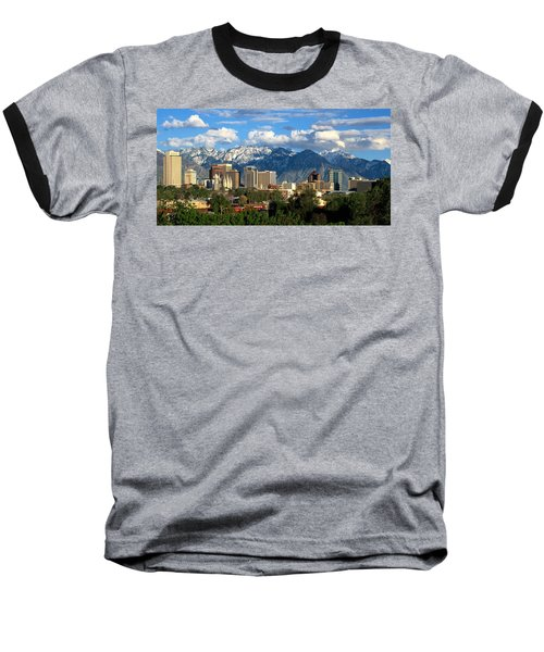 Salt Lake City Skyline Baseball T-Shirt