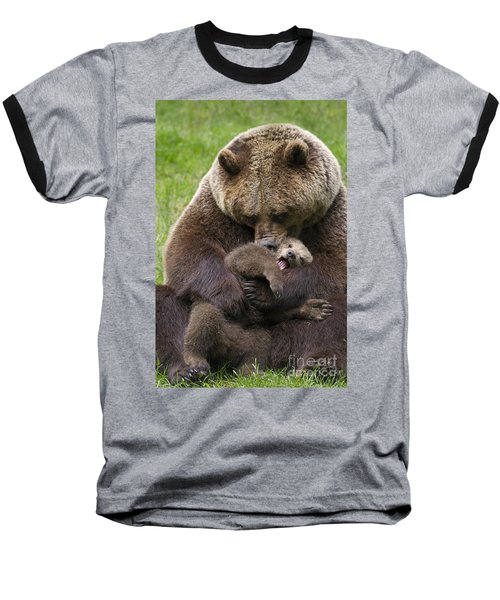 Mother Bear Cuddling Cub Baseball T-Shirt by Arterra Picture Library