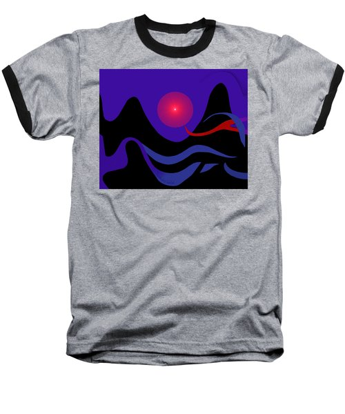 1536 - Red Mountain Sun -  2017 Baseball T-Shirt by Irmgard Schoendorf Welch