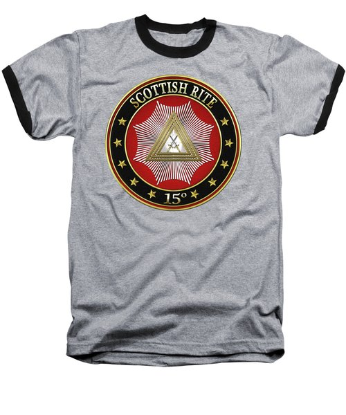 15th Degree - Knight Of The East Jewel On Red Leather Baseball T-Shirt by Serge Averbukh