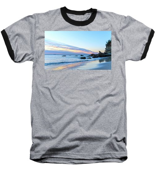Rocky Daybreak Seascape Baseball T-Shirt