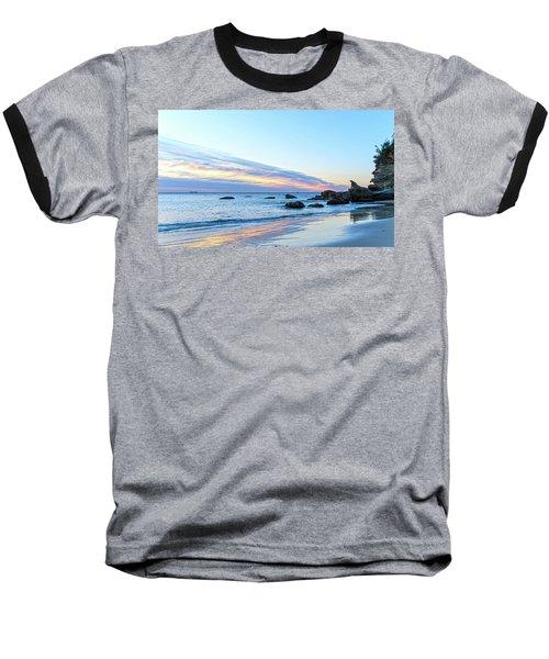 Rocky Daybreak Seascape Baseball T-Shirt