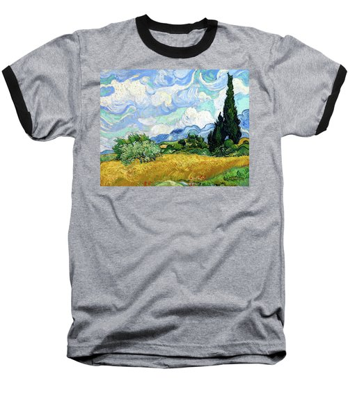 Wheat Field With Cypresses Baseball T-Shirt