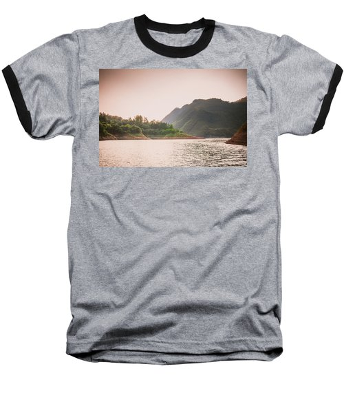The Mountains And Lake Scenery In Sunset Baseball T-Shirt