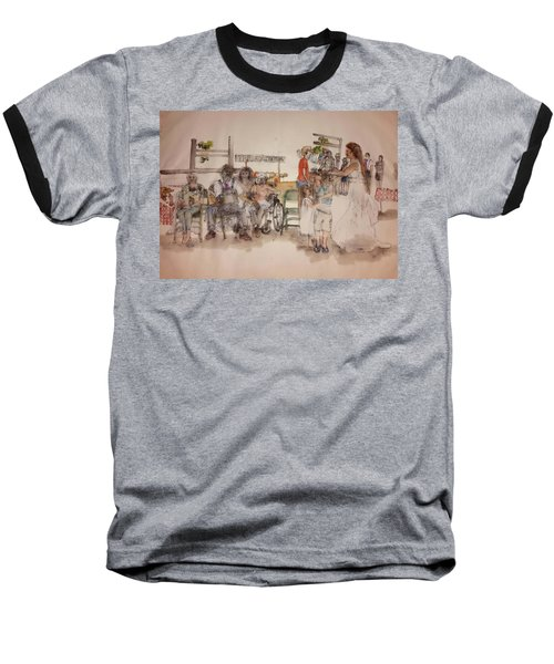 Baseball T-Shirt featuring the painting The Wedding Album  by Debbi Saccomanno Chan