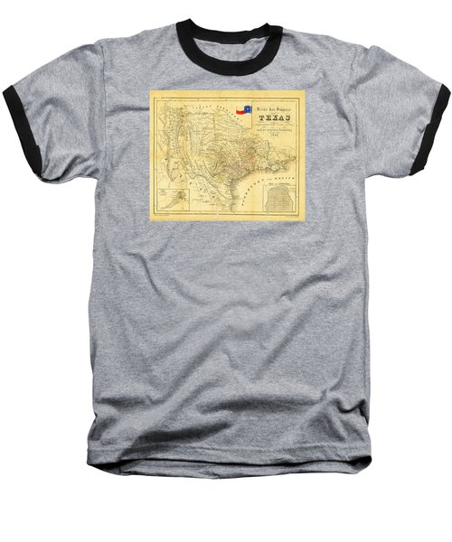 1849 Texas Map Baseball T-Shirt