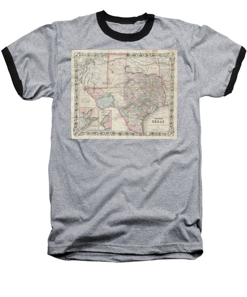 1870 Colton Pocket Map Of Texas Baseball T-Shirt