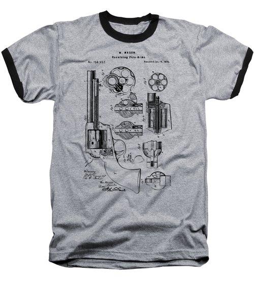 Baseball T-Shirt featuring the drawing 1875 Colt Peacemaker Revolver Patent Vintage by Nikki Marie Smith