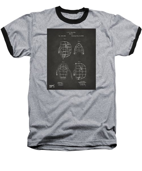1878 Baseball Catchers Mask Patent - Gray Baseball T-Shirt by Nikki Marie Smith