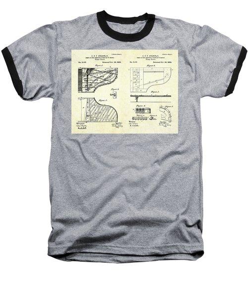 1880 Steinway Piano Forte Patent Art Sheets V2 Baseball T-Shirt by Gary Bodnar