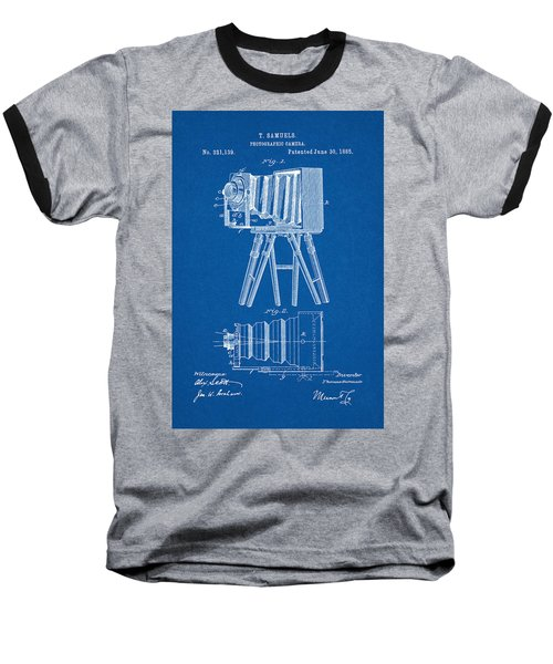 1885 Camera Us Patent Invention Drawing - Blueprint Baseball T-Shirt