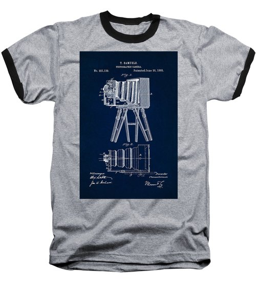 1885 Camera Us Patent Invention Drawing - Dark Blue Baseball T-Shirt